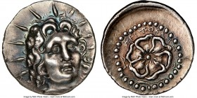 CARIAN ISLANDS. Rhodes. Ca. 84-30 BC. AR drachm (19mm, 7h). NGC Choice XF. Critocles, magistrate. Radiate head of Helios facing, turned slightly right...