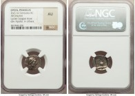 LYCIAN LEAGUE. Phaselis. Ca. 167-81 BC. AR drachm (15mm, 11h). NGC AU. Series 1. Laureate head of Apollo right, hair falling in two ringlets / ΦAΣHΛI,...