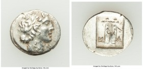 LYCIAN LEAGUE. Masicytes. Ca. 48-20 BC. AR hemidrachm (16mm, 1.89 gm, 12h). AU. Series 1. Laureate head of Apollo right; Λ-Y below / M-A, cithara (lyr...