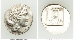 LYCIAN LEAGUE. Masicytes. Ca. 48-20 BC. AR hemidrachm (16mm, 1.77 gm, 1h). AU. Series 1. Laureate head of Apollo right; Λ-Y below / M-A, cithara (lyre...