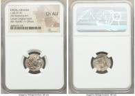 LYCIAN LEAGUE. Cragus. Ca. 48-20 BC. AR hemidrachm (17mm, 11h). NGC Choice AU. Series 2. Laureate head of Apollo right, wearing wreath and taenia; Λ-Y...