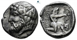 Islands off Thrace. Thasos circa 411-350 BC. Drachm AR