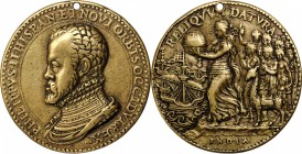 Undated (ca. 1560) Philip II King of the New World Reliqvvm Datura Medal. Brass, Cast. 38.5 mm, rims 2.0 to 2.2 mm. Betts-12, Van Loon I, 283. Very Fi...