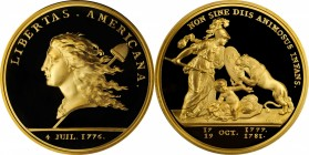 """1781"" (2000) Libertas Americana Medal. Modern Paris Mint Dies. Gold. 46.5 mm. 64 grams. .916 fine. No. 103/500. Superb Gem Proof.