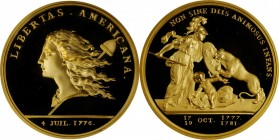 """1781"" (2000) Libertas Americana Medal. Modern Paris Mint Dies. Gold. 46.5 mm. 64 grams. .916 fine. No. 316/500. Superb Gem Proof.