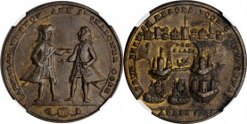 1741 Admiral Vernon Medal. Cartagena Medal. Copper. 37.3 mm. Adams-Chao CAvo 2-B, M-G 227. Rarity-5. Plain Edge. AU-53 (NGC).