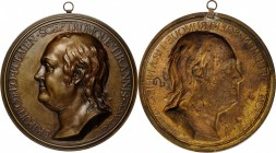 """1779"" Benjamin Franklin Plaque. Uniface. Cast Brass. 149 mm. By Jean-Baptiste Nini. cf. Margolis-23. Mint State.