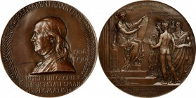 1906 Benjamin Franklin Birth Bicentennial Medal. Bronze. 101 mm. By Augustus and Louis Saint-Gaudens. Greenslet GM-118. Rarity-4. TIFFANY & CO. Edge. ...