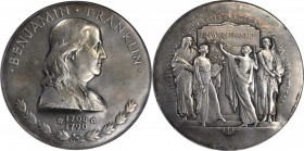 """1933"" Benjamin Franklin Memorial Medal. Silver. 75 mm. Greenslet GM-147. MS-62 (NGC).