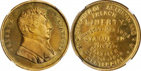 1876 Lafayette Statue in New York Unveiled Medal. Brass. 31 mm. Fuld-LA.1876.1. MS-66 PL (NGC).