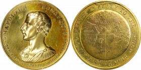 France--Consulate. MDCCCII (1802) Napoleon I Laudatory Medal. Gilt Copper. 58.5 mm. By J.G. Hancock, for Daniel Eccleston. cf. Bramsen-242, Julius-112...