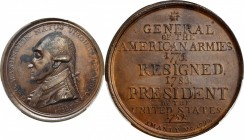 """1790"" (ca. 1850) Manly Medal. Second Obverse. Copper. 49 mm. Musante GW-11, Baker-62B. Specimen. Unc Details--Environmental Damage (PCGS).