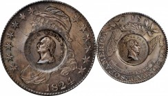 1824 Washington and Lafayette countermarks on an 1824/4 O-110 Capped Bust half dollar. Musante GW-112-C1, Baker-198E. Host coin Mint State.
