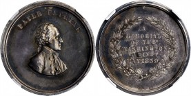 1859 Washington Cabinet Medalet. Silver. 21 mm. Musante GW-240, Baker-325A, Julian MT-22. MS-62 (NGC).