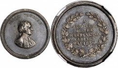 1859 Washington Cabinet Medalet. Silver. 21 mm. Musante GW-240, Baker-325A, Julian MT-22. MS-61 (NGC).