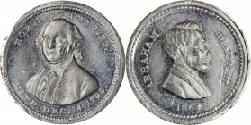 """1864"" (ca. 1868) Washington - Lincoln Medalet. White Metal. 18.5 mm. Musante GW-749, Baker-241, var., Cunningham 5-700W, King-116, DeWitt-AL 1864-74C..."