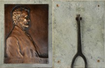 1907 Lincoln Birth Centennial Plaque. Cast Bronze. 180 mm x 239 mm. By Victor David Brenner. Cunningham 24-060Bz, King-1146. Extremely Fine.