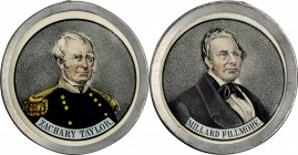 "1848 Zachary Taylor Campaign ""Medal."" DeWitt-ZT 1848-45. Pewter, Lithograph Paper inserts, Glass crystals. 65.1 mm. Mint State.