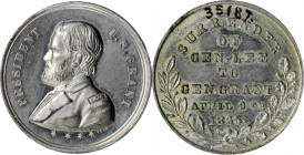 1868 U.S Grant Campaign Medal. DeWitt USG 1868-28, var. White Metal. 28.0 mm. Mint State.
