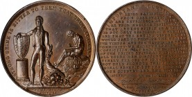 """1834"" Temperance Society Statement Medal. Bronze. 43.7 mm. By Joseph Davis, Birmingham. MS-64 BN (NGC).