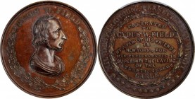 Undated (1858) Cyrus W. Field Laying of the Atlantic Telegraph Cable Medal. First Reverse. Bronze. 51 mm. By George Hampden Lovett, Published by Augus...