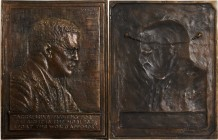 1920 Theodore Roosevelt Plaque. Cast Bronze. 320 mm x 232 mm. By James Earle Fraser. Nearly As Made.
