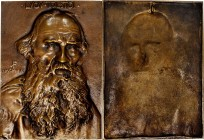 1907 Portrait Plaque of Russian Novelist Leo Tolstoy. Cast Bronze. 120 mm x 165 mm. By John Flanagan. About Uncirculated.