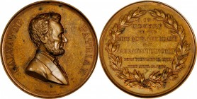 1866 Lincoln Memorial Medal. Original Dies. Bronze. 83 mm, 13 mm thick (greatest dimension). By Emil Sigel. Miller-1, Cunningham 9-690C, King-244. Abo...