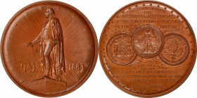 1883 George Washington (Evacuation Day) Medal. Bronze. 57.5 mm. By Charles Osborne, Engraved by Lea Ahlborn. Miller-6, Musante GW-719, Baker S-319. Mi...