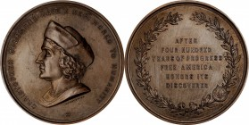 1893 Columbus Quartercentenary Medal. Bronze. 77 mm. By James H. Whitehouse, Engraved by William Walker. Miller-9, Eglit-104, Rulau-B1. About Uncircul...