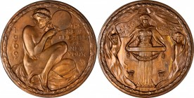 1909 New Theatre of New York Medal. Bronze. 105 mm. By Bela Lyon Pratt. Miller-25. Untrimmed Edge. Mint State, Tooled.