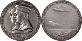 1918 King and Queen of the Belgians Medal. Silver. 64 mm. 94.6 grams. By Theodore Spicer-Simson. Miller-37. Edge #58. About Uncirculated, Cleaned.