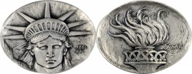 1986 Statue of Liberty Centennial Medal. Silver. 103 mm x 81 mm, oval. 487.6 grams. By Eugene Daub. Miller-55. Edge #017/100. Choice Mint State.