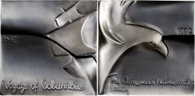 1992 Columbus Quincentenary Plaque. Silver. 68.5 mm, square. 374.2 grams. .999 fine. By Magdalena Dobrucka. Miller-57. Edge #42. Choice Mint State.