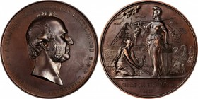 1865 Cornelius Vanderbilt Medal. Bronzed Copper. 76.3 mm. Julian PE-36. About Uncirculated.