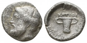 Kings of Thrace. Uncertain mint. Kotys I 382-359 BC. Obol AR