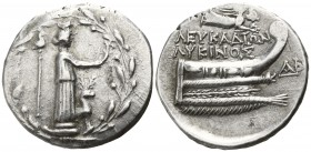 Akarnania. Leukas. ΛΥΚΙΝΟΣ, magistrate 167 BC. Didrachm AR