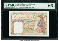 Algeria Banque de l'Algerie 50 Francs 1942-45 Pick 87 PMG Gem Uncirculated 66 EPQ.   HID09801242017  © 2020 Heritage Auctions | All Rights Reserve