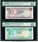 Bahamas Monetary Authority 1/2; 1 Dollar 1968 Pick 26s; 27a Specimen; Issue Two Examples PMG Superb Gem Unc 67 EPQ.   HID09801242017  © 2020 Heritage ...