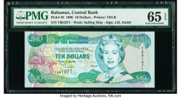 Bahamas Central Bank 10 Dollars 1996 Pick 59 PMG Gem Uncirculated 65 EPQ.   HID09801242017  © 2020 Heritage Auctions | All Rights Reserve