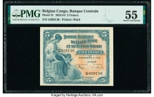 Belgian Congo Banque Centrale du Congo Belge 5 Francs 15.5.1953 Pick 21 PMG About Uncirculated 55.   HID09801242017  © 2020 Heritage Auctions | All Ri...