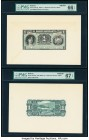 Bolivia Banco Mercantil 1 Boliviano 1906-11 Pick S171fp; S171bp Front and Back Proofs PMG Gem Uncirculated 66 EPQ; Superb Gem Unc 67 EPQ. Three POCs o...