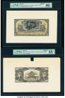 Bolivia Banco Mercantil 5 Bolivianos 1906-11 Pick S173fp; S173bp Front and Back Proofs PMG Gem Uncirculated 66 EPQ; Gem Uncirculated 65 EPQ. Three POC...