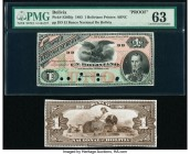 Bolivia Banco Nacional de Bolivia 1 Boliviano 1883 Pick S205fp; S205bp Front and Back Proofs PMG Choice Uncirculated 63; Crisp Uncirculated. Front Pro...