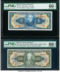 Brazil Tesouro Nacional 5; 500 Cruzeiros ND (1943); ND (1955-60) Pick 134; 164d Two Examples PMG Gem Uncirculated 66 EPQ.   HID09801242017  © 2020 Her...