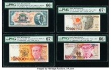 Brazil Banco Central Do Brasil 5 Cruzeiros Novos on 5000 Cruz ND; 10 Cruzados Novos on 10,000 Cruz; 50,000 Cruzeiros; 500,000 Cruzeiros (1966-67); ND ...