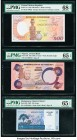 Central African Republic Banque des Etats de l'Afrique Centrale 500 Francs 1987 Pick 14c PMG Superb Gem Unc 68 EPQ; Nigeria Central Bank 5 Naira ND (1...