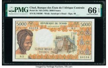 Chad Banque Des Etats De L'Afrique Centrale 5000 Francs ND (1978) Pick 5b PMG Gem Uncirculated 66 EPQ.   HID09801242017  © 2020 Heritage Auctions | Al...