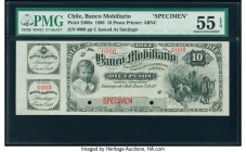 Chile Banco Mobiliario 10 Pesos 2.1.1890 Pick S308s Specimen PMG About Uncirculated 55 EPQ. Red Specimen overprint; two POCs..  HID09801242017  © 2020...
