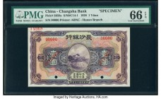 China Changsha Bank- Hunan 1 Yuan 1928 Pick S858s S/M#C14-1 Specimen PMG Gem Uncirculated 66 EPQ. Two POCs; red Specimen overprints.  HID09801242017  ...